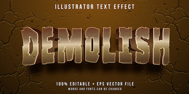 Efeito de texto editável - estilo de texto demolido