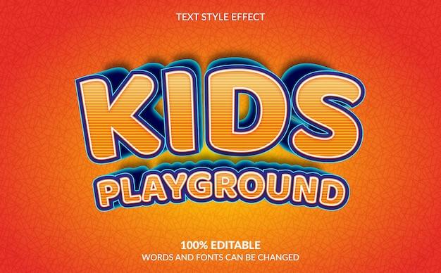 Efeito de texto editável, estilo de texto do parque infantil