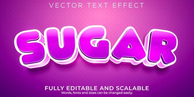 Efeito de texto editável, estilo de texto doce de açúcar