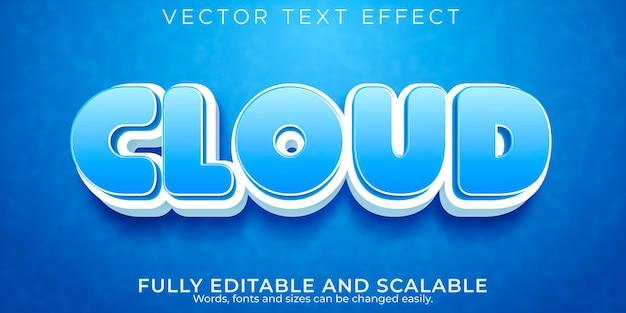 Efeito de texto editável, estilo de texto em nuvem azul