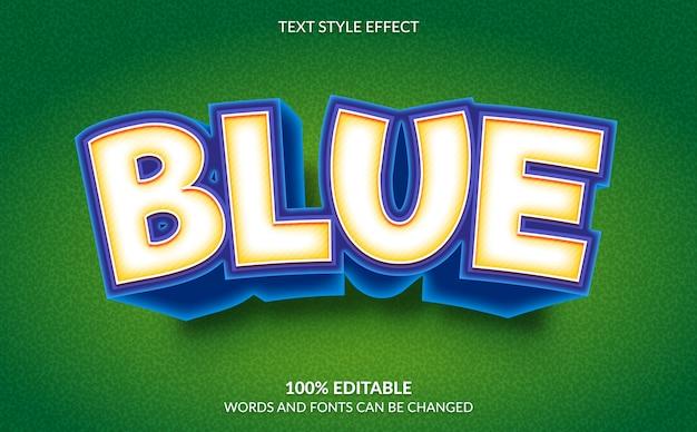 Efeito de texto editável, estilo de texto em quadrinhos azul Vetor Premium