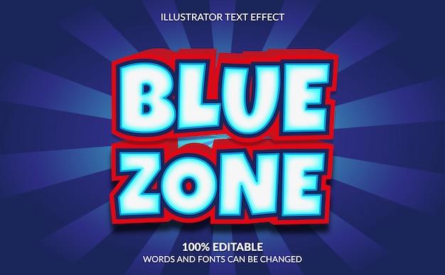Efeito de texto editável, estilo de texto em quadrinhos da zona azul 3d