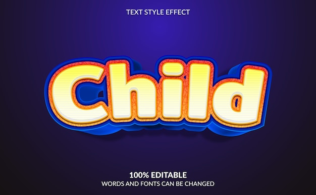 Efeito de texto editável, estilo de texto filho