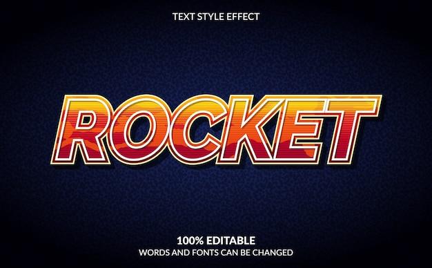 Efeito de texto editável, estilo de texto foguete