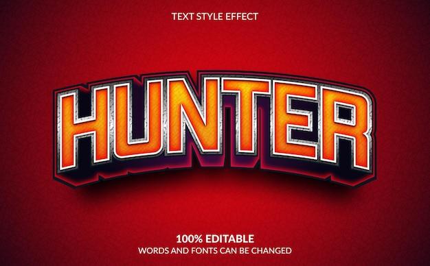 Efeito de texto editável, estilo de texto hunter
