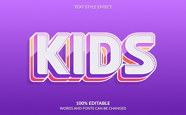 Efeito de texto editável, estilo de texto infantil