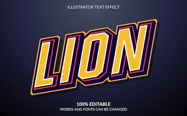 Efeito de texto editável, estilo de texto lion esport