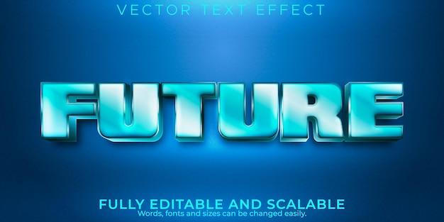 Efeito de texto editável, estilo de texto metálico futuro