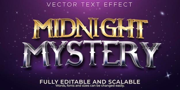 Efeito de texto editável, estilo de texto misterioso da meia-noite