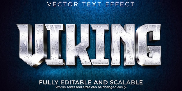 Efeito de texto editável, estilo de texto nórdico vikings