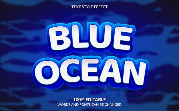 Efeito de texto editável, estilo de texto oceano azul