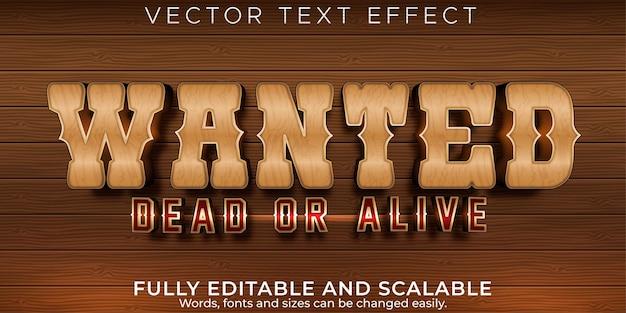 Efeito de texto editável, estilo de texto ocidental desejado