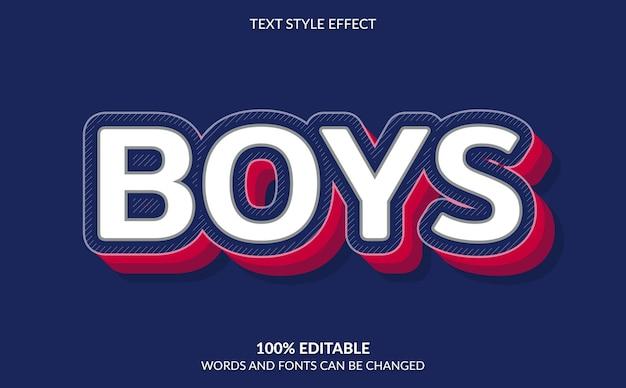 Efeito de texto editável, estilo de texto para meninos