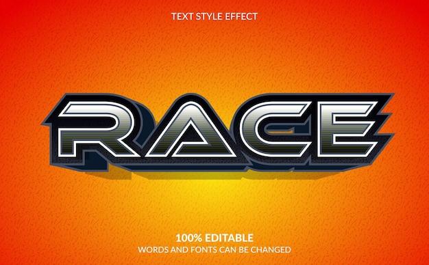 Efeito de texto editável, estilo de texto race
