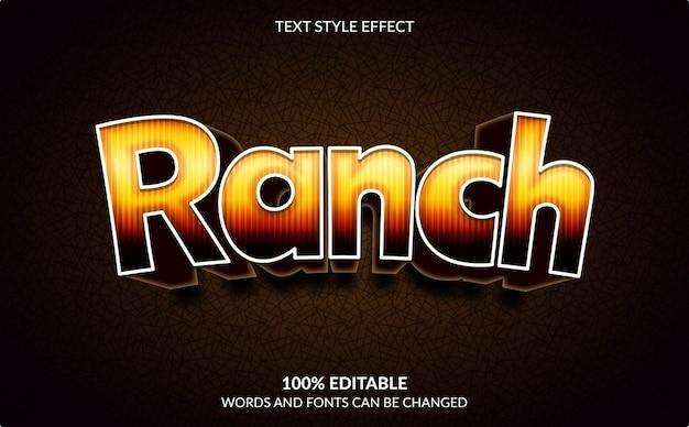 Efeito de texto editável, estilo de texto rancho