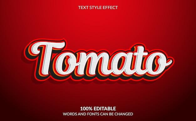 Efeito de texto editável, estilo de texto red tomato
