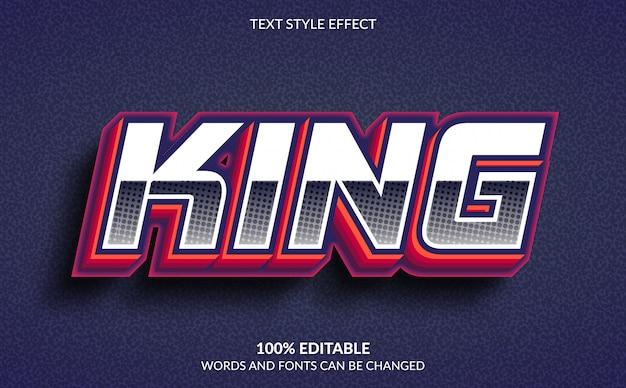 Efeito de texto editável, estilo de texto rei