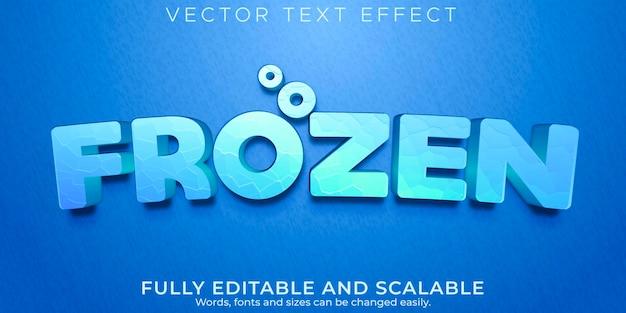 Efeito de texto editável, estilo de texto reino congelado