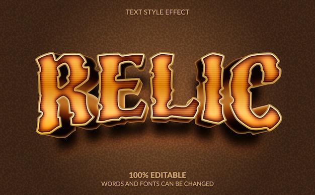 Efeito de texto editável, estilo de texto relíquia