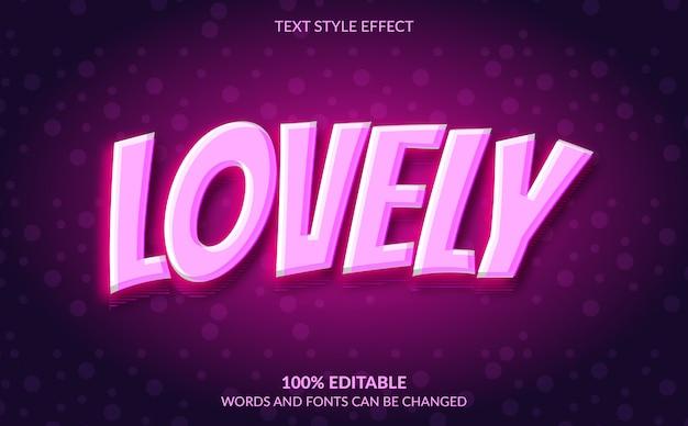 Efeito de texto editável, estilo de texto rosa adorável