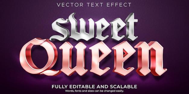 Efeito de texto editável estilo de texto sweet queen