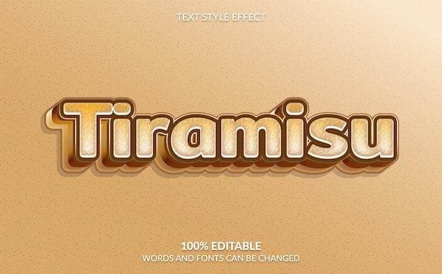 Efeito de texto editável estilo de texto tiramisu
