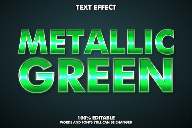 Efeito de texto editável, estilo de texto verde metálico