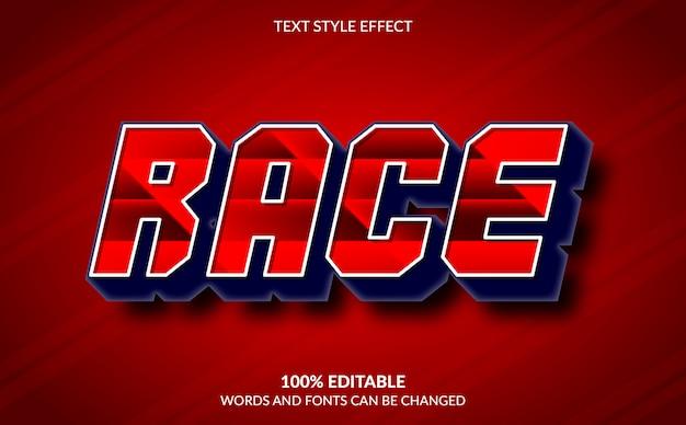 Efeito de texto editável, estilo de texto vermelho de corrida