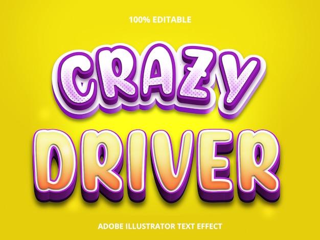 Efeito de texto editável - estilo de título crazy driver Vetor Premium