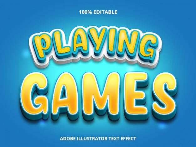 Efeito de texto editável - estilo de título de jogar jogos Vetor Premium