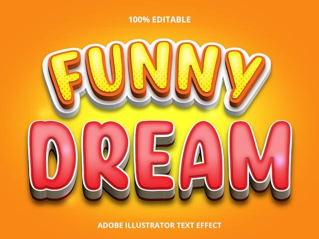 Efeito de texto editável - estilo de título funny dream Vetor Premium