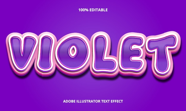 Efeito de texto editável - estilo de título violeta