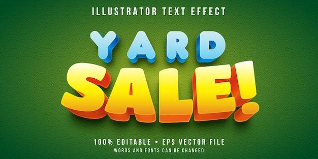 Efeito de texto editável - estilo de venda de quintal dos desenhos animados