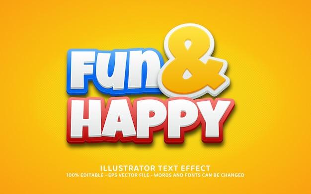Efeito de texto editável, estilo divertido e feliz