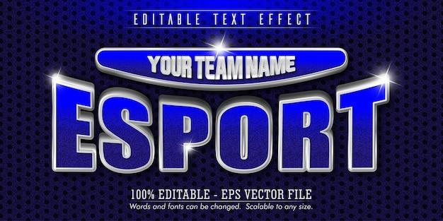 Efeito de texto editável estilo e-sport, prata, azul