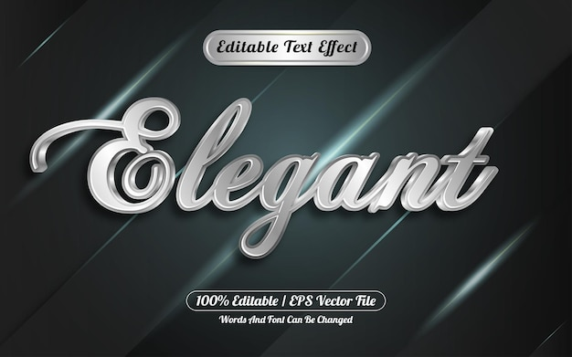 Efeito de texto editável estilo elegante prata