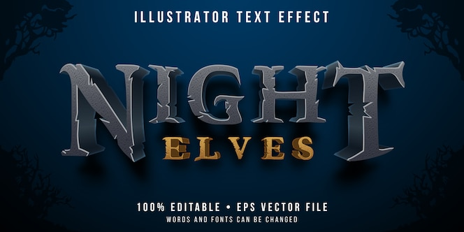 Efeito de texto editável - estilo elfo noturno