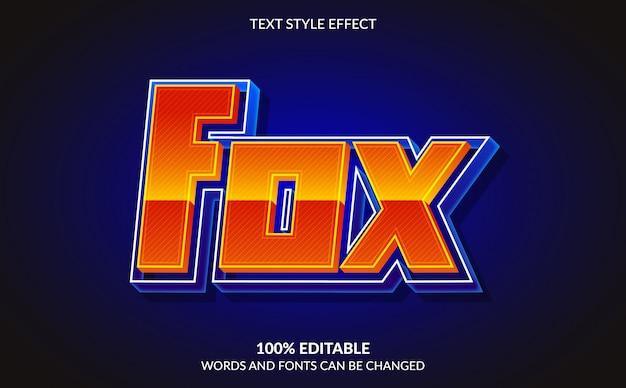 Efeito de texto editável, estilo fox text