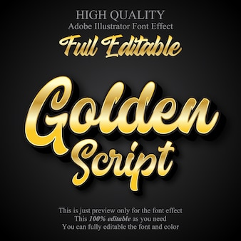 Efeito de texto editável estilo gráfico de luxo script ouro