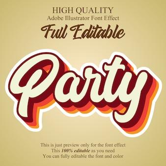 Efeito de texto editável estilo gráfico de script de festa vintage