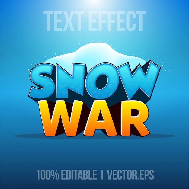 Efeito de texto editável - estilo gráfico do jogo de guerra de neve