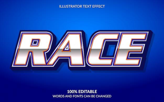Efeito de texto editável, estilo legal de texto de corrida azul