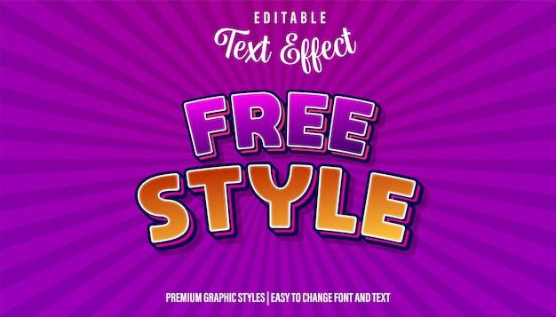 Efeito de texto editável, estilo livre roxo laranja estilo do título do jogo