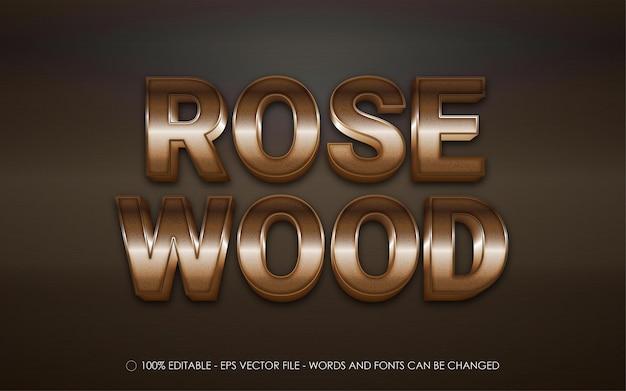 Efeito de texto editável, estilo madeira rosa