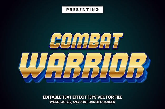 Efeito de texto editável - estilo metálico dourado de guerreiro de combate