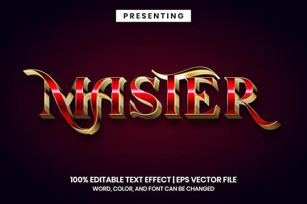 Efeito de texto editável - estilo metálico vermelho mestre