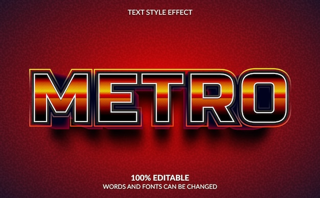 Efeito de texto editável, estilo metro text