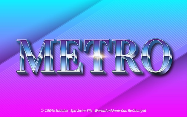 Efeito de texto editável, estilo metro