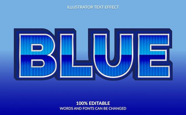 Efeito de texto editável, estilo moderno de texto metálico azul