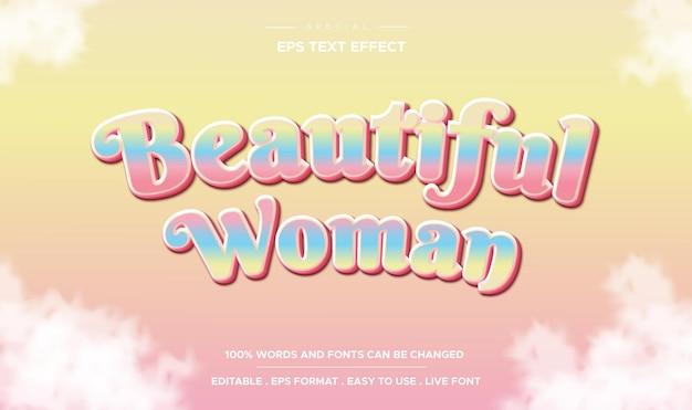 Efeito de texto editável estilo mulher bonita